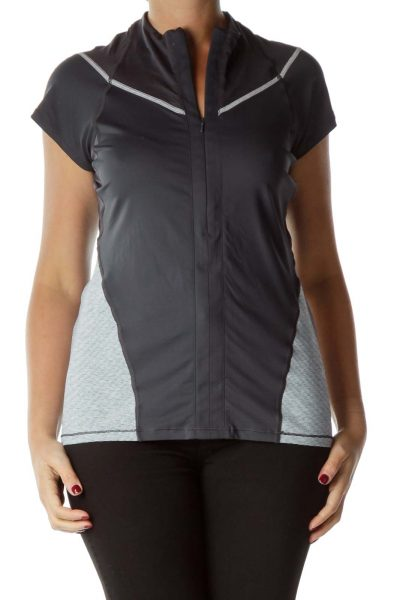 Gray Short Sleeve Cycling Top