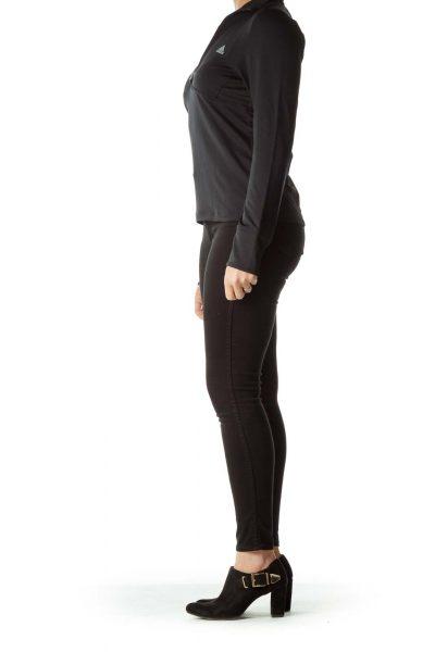 Black Half-Zip Long Sleeve Sport Top
