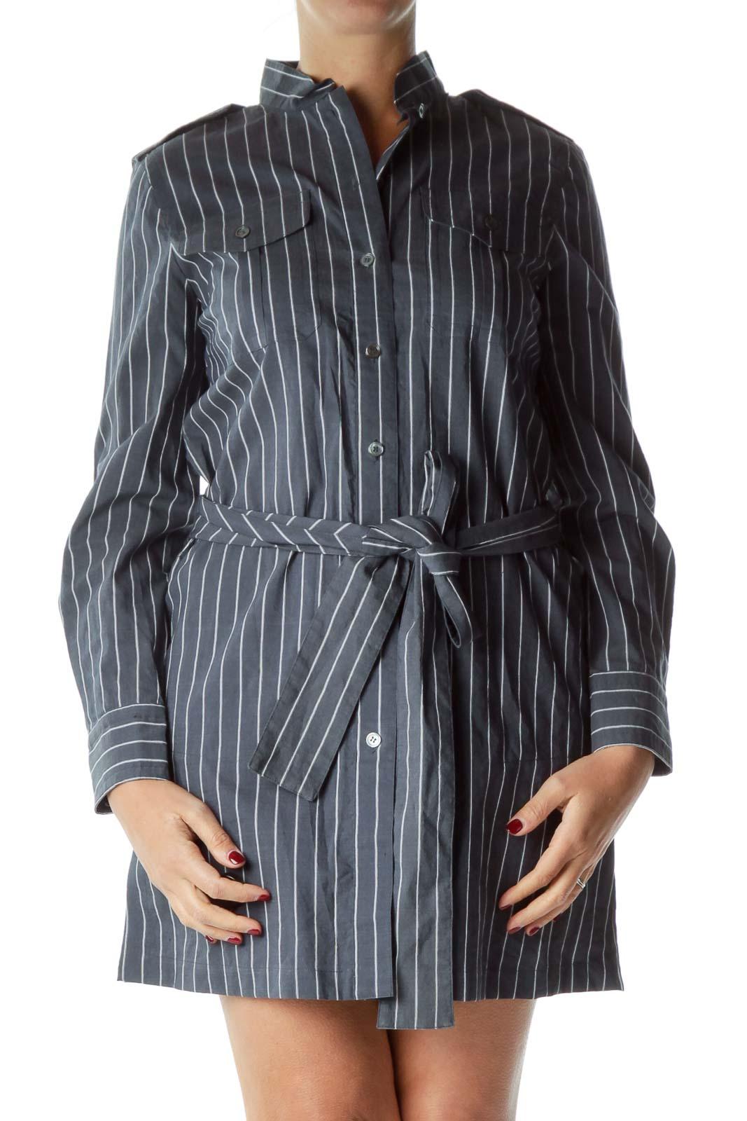 Blue White Pinstripe Shirt Dress
