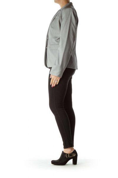 Gray Mottled Pocketed Blazer