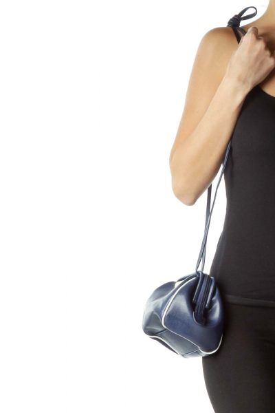 Blue Leather Long Crossbody Bag