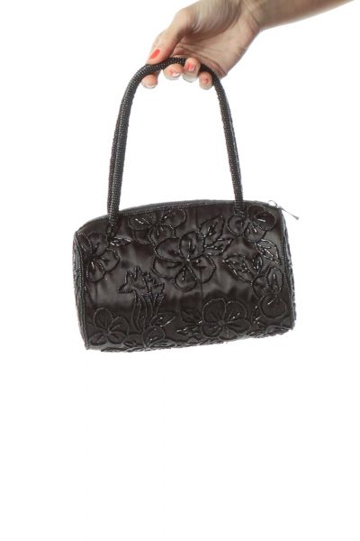 Black Flower Design Beaded Bag