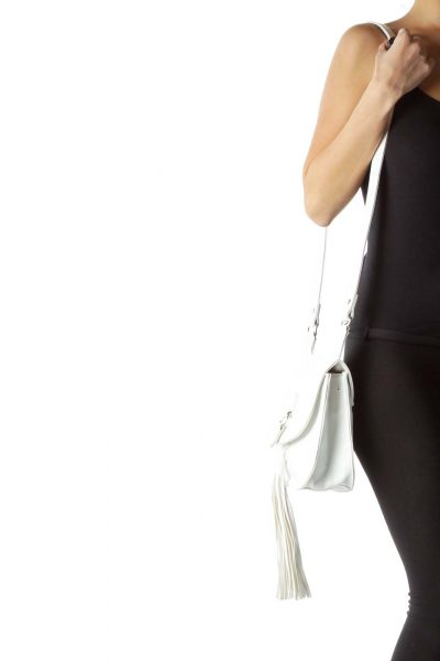 White Crossbody Bag with Tassle