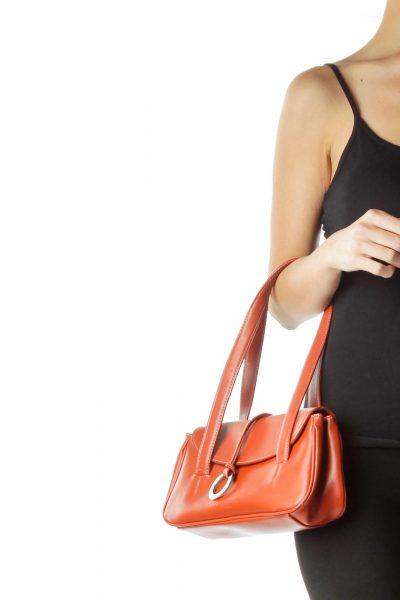 Orange Leather Shoulder Bag