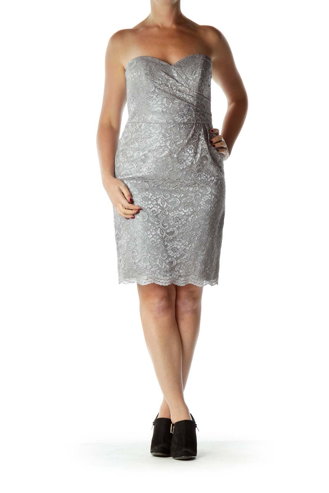 Beige Lace Sweetheart Neck Cocktail Dresss