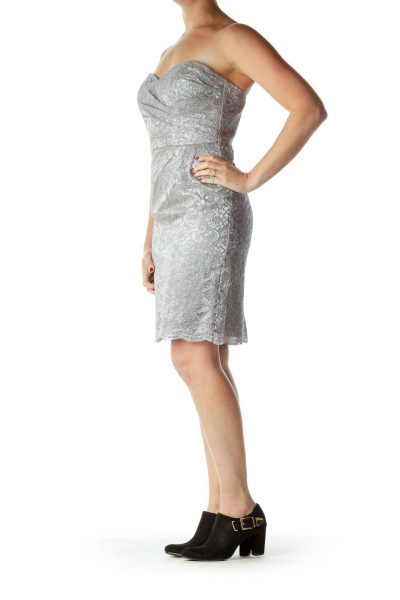 Beige Lace Sweetheart Neck Cocktail Dresss
