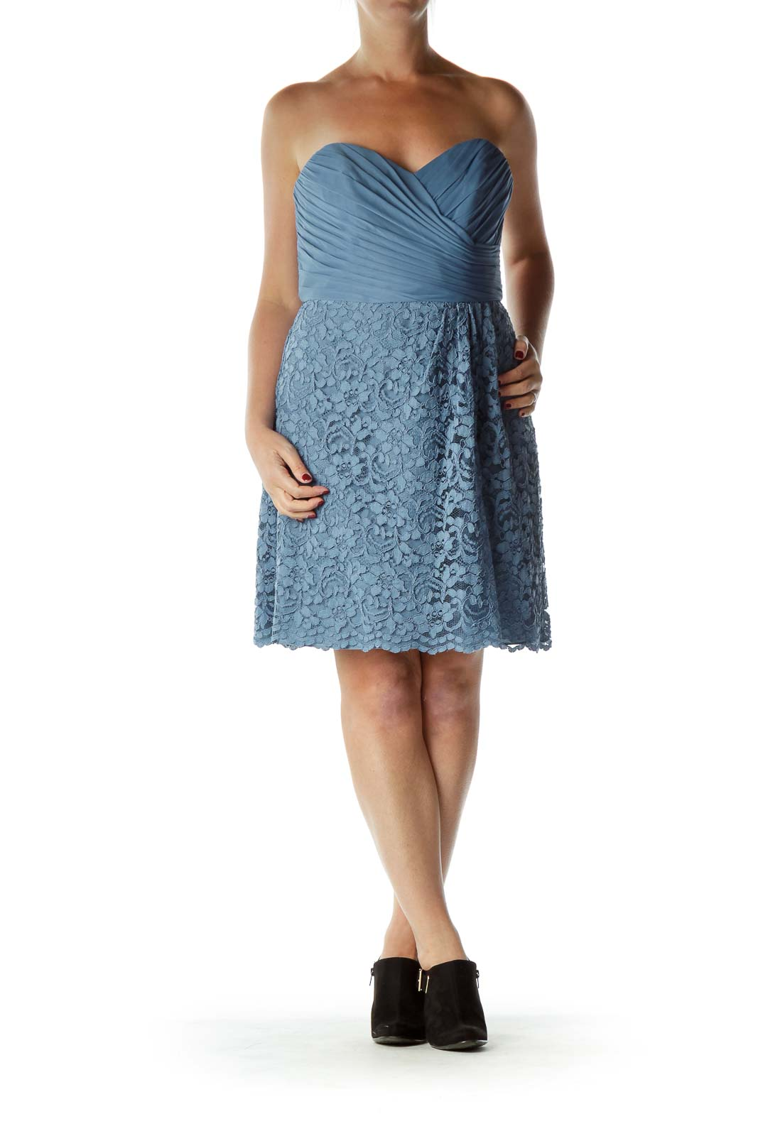 Blue Strapless Lace Cocktail Dress