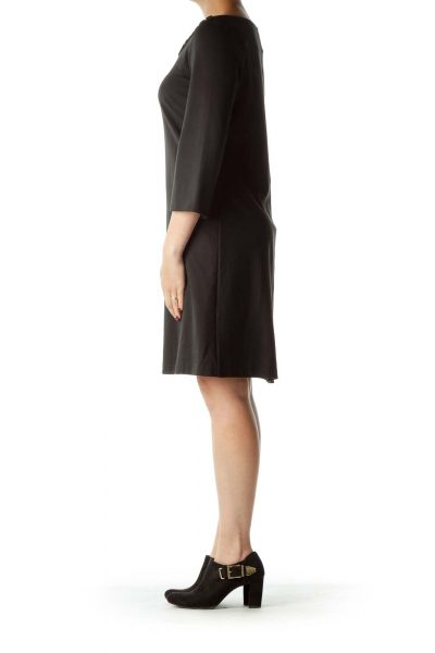 Black Long Sleeve Shift with Neckline Detail