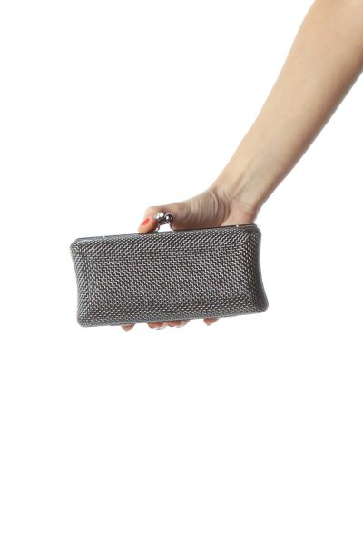Silver Black Textured Metal Clutch