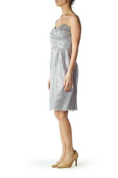 Gray Silver Metallic Lace Strapless Cocktail Dress