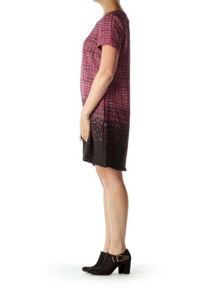Red Print Short Sleeve Shift Dress