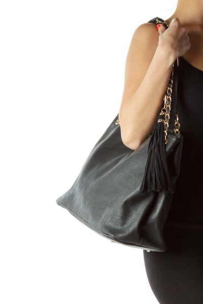 Black Gold Chain Tote Bag with Tassle