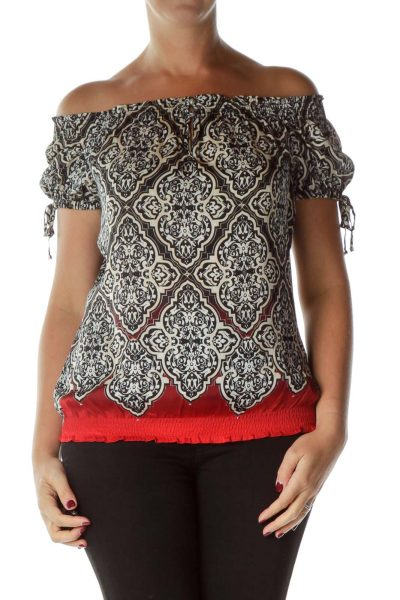 Black Red Printed Off-Shoulder Blouse