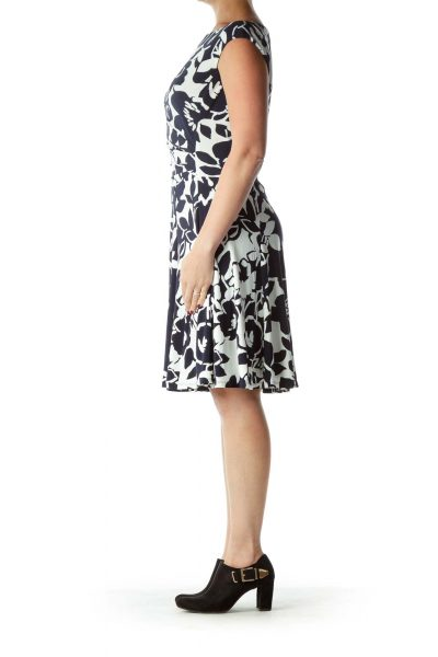 Black White Boatneck Floral Dress
