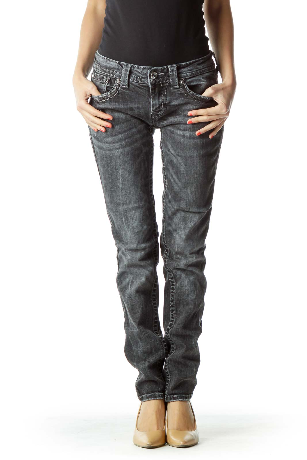 Black Skinny Jean with Shiny Trim