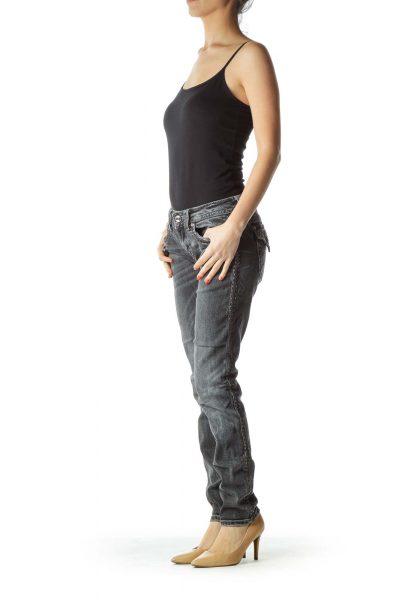Black Skinny Jean with Shiny Trim
