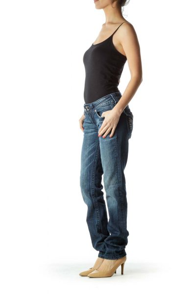 Studded Straight-Leg Jean
