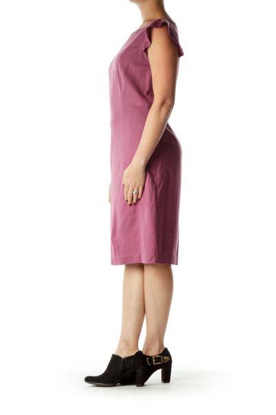 Purple Cap Sleeve Sheath Dress
