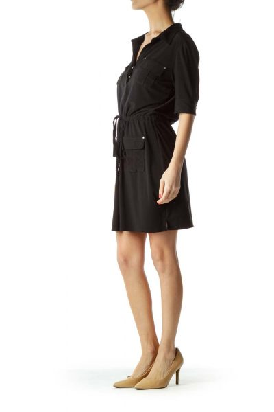 Black Jersey Dress with Pockets