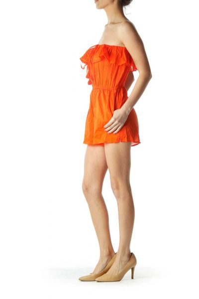 Orange Ruffled Romper