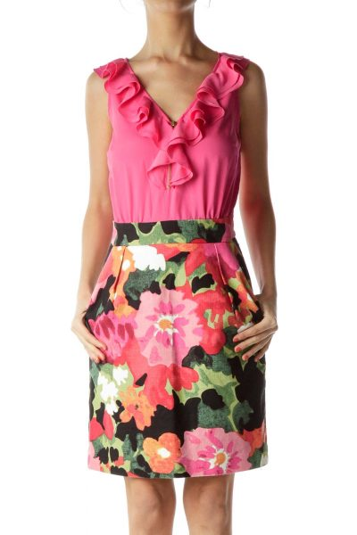 Pink Ruffle Sleeveless Sheath Dress