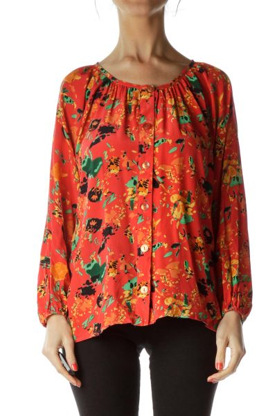 Orange Print Silk Blouse with Buttons