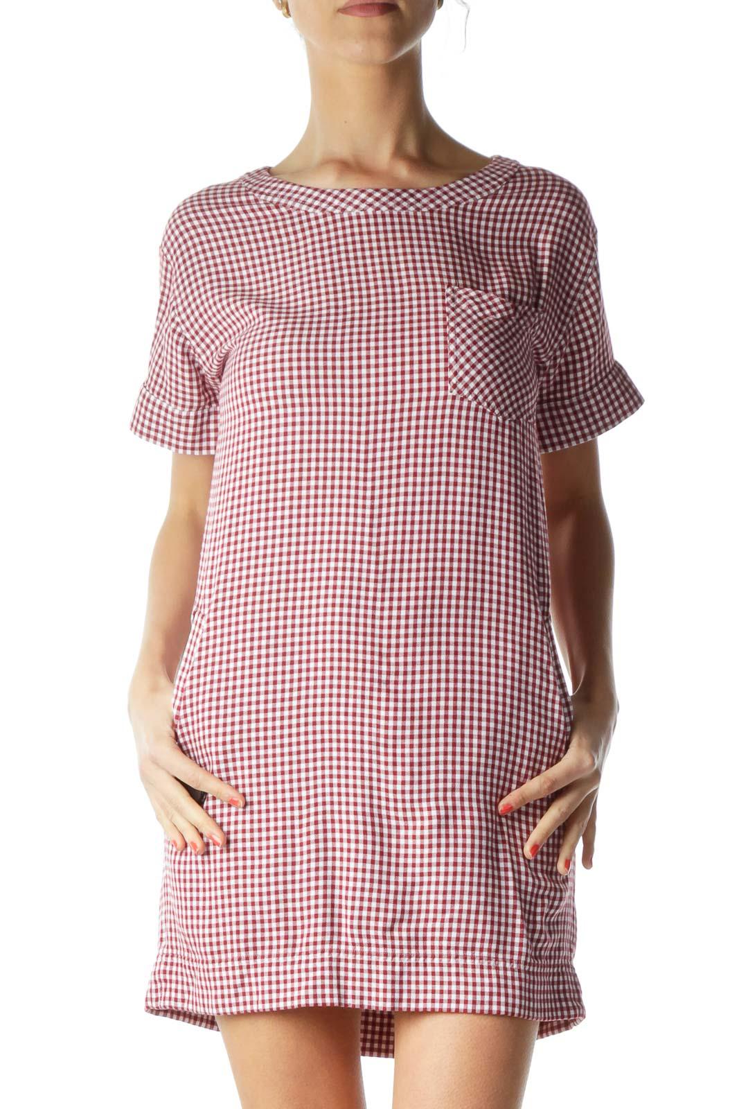 Red White Gingham Shift Dress