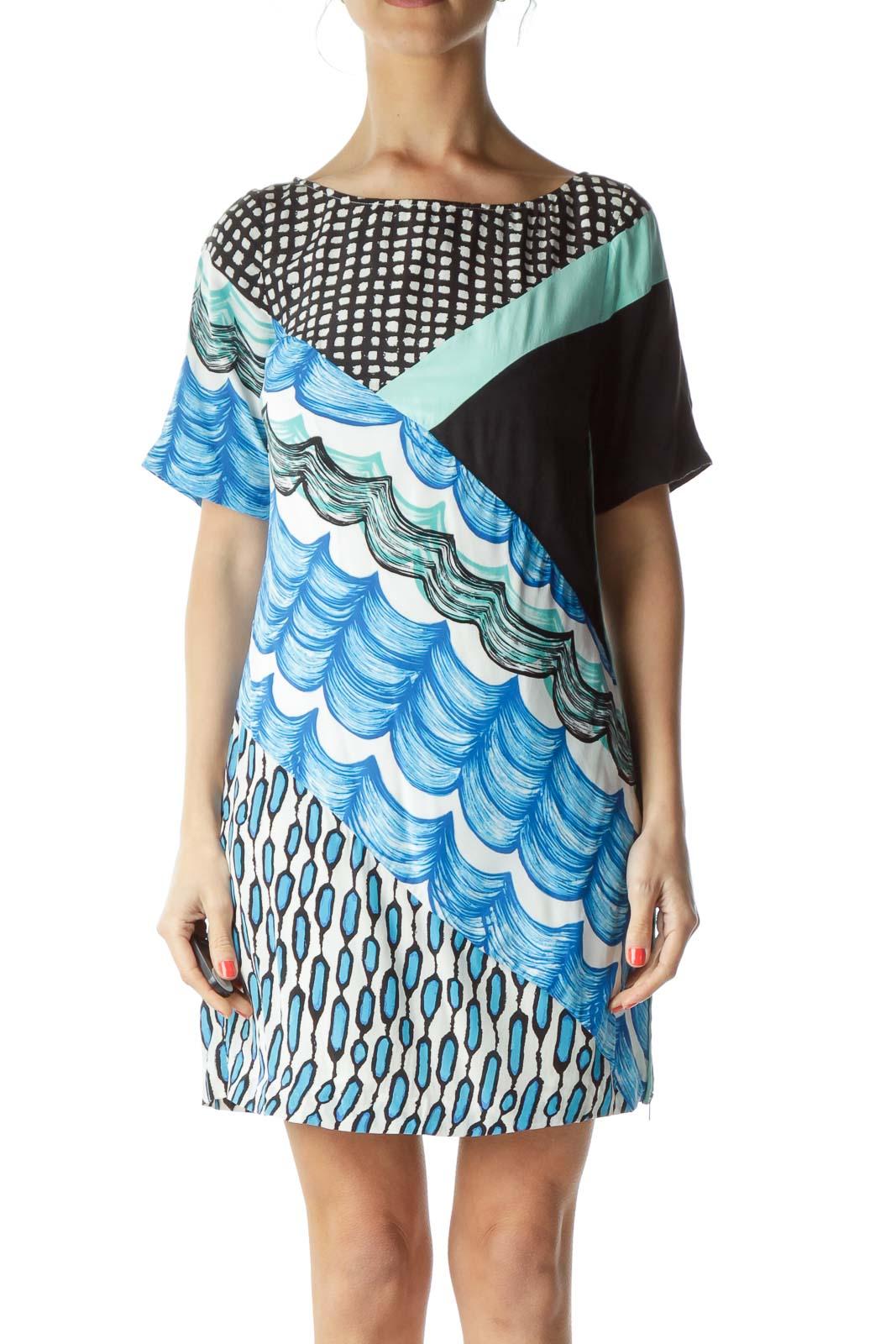 Blue Black Zippered Day Dress