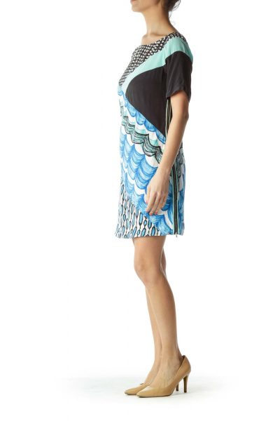 Blue Black Zippered Day Dress