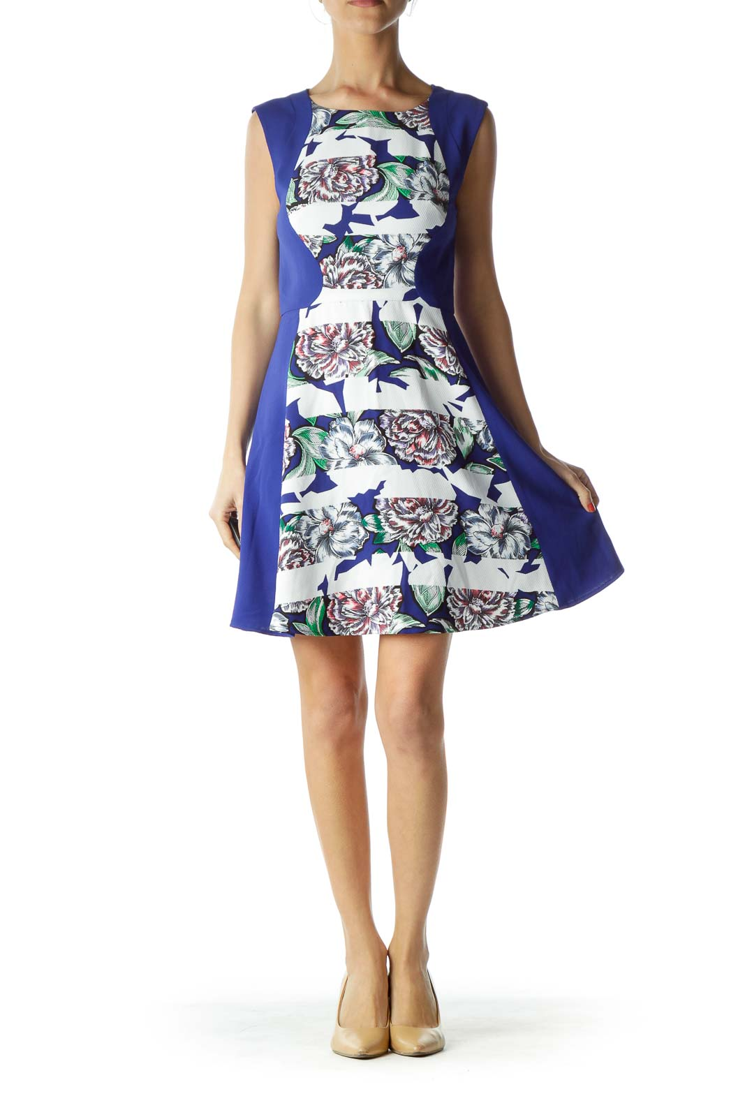Blue White Floral Day Dress