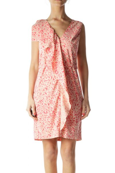 Beige Pink Ruffle & Print Work Dress