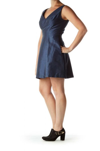 Navy Sleeveless A-Line Cocktail Dress