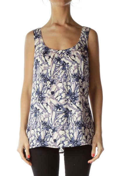 Blue Purple Sleeveless Print Blouse