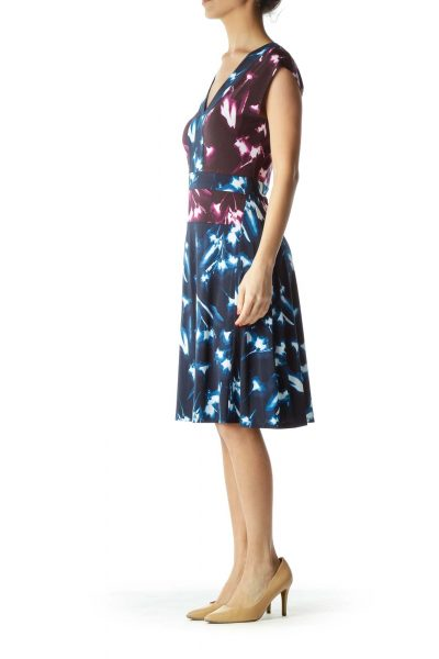 Purple Print Empire Waist A-Line Dress