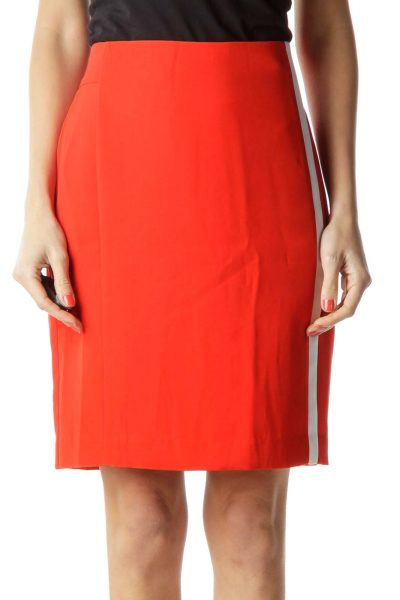 Red Pencil Skirt with Stripe