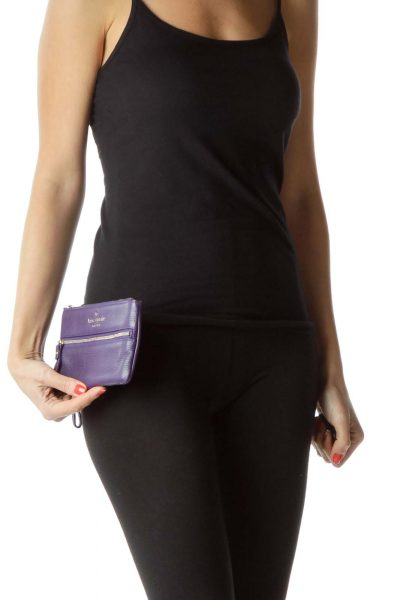 Purple Leather Gold Clutch