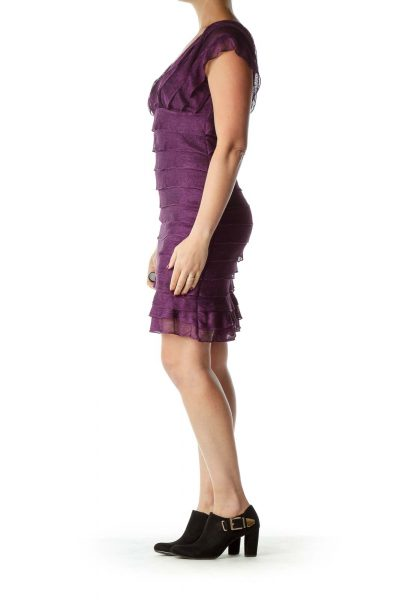 Purple Metallic Pleated Cocktail Dress