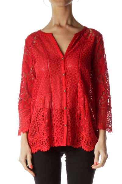 Red Lace Buttoned Blouse