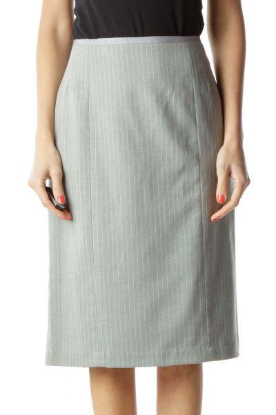 Gray Pinstripe Wool Pencil Skirt