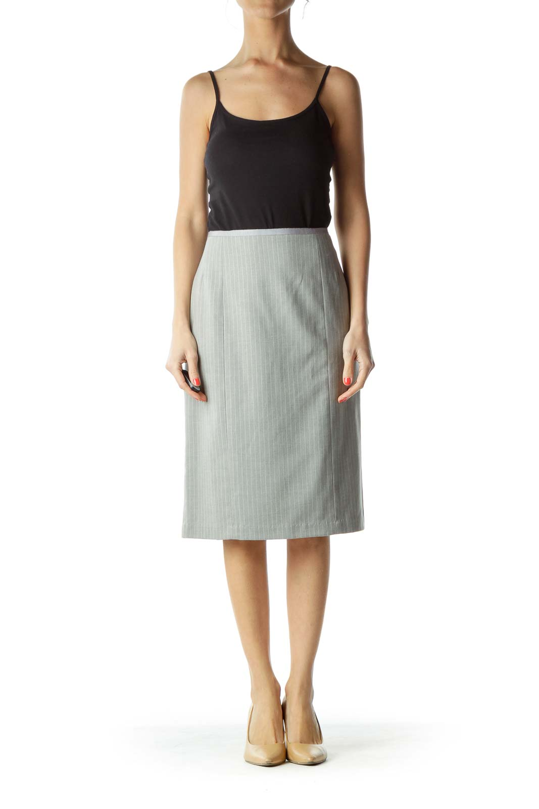 Gray Pinstripe Wool Pencil Skirt