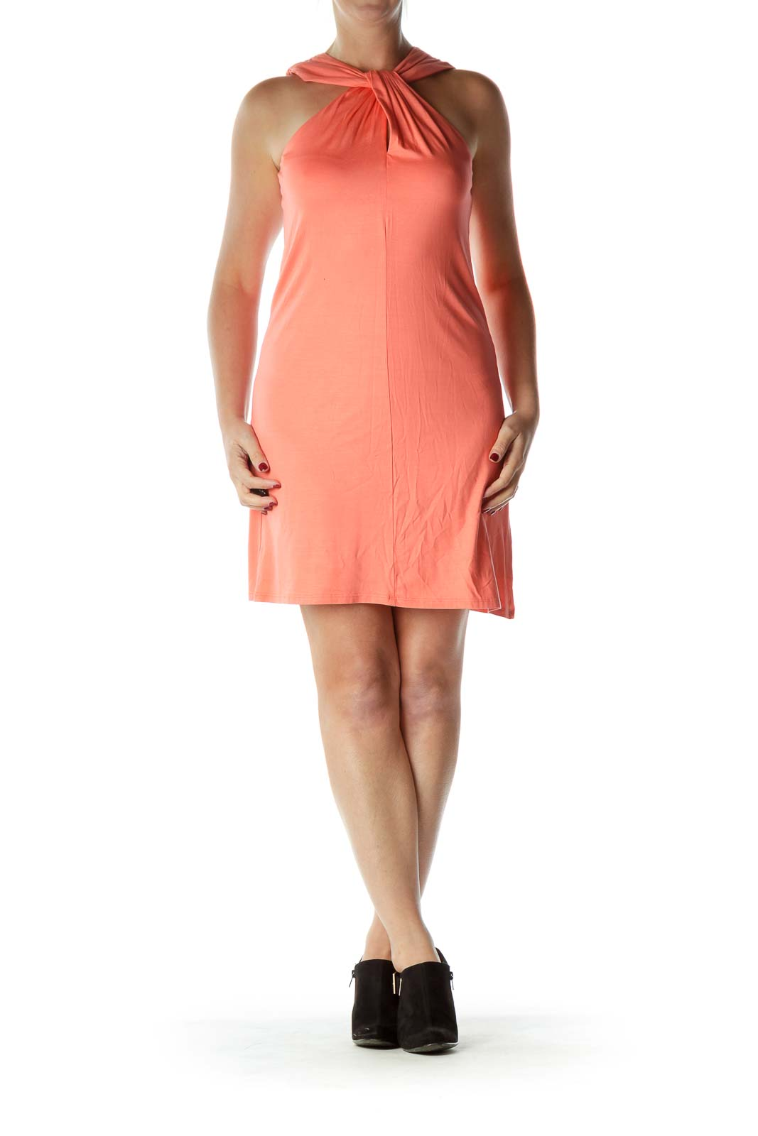 Orange Knot Neck Day Dress