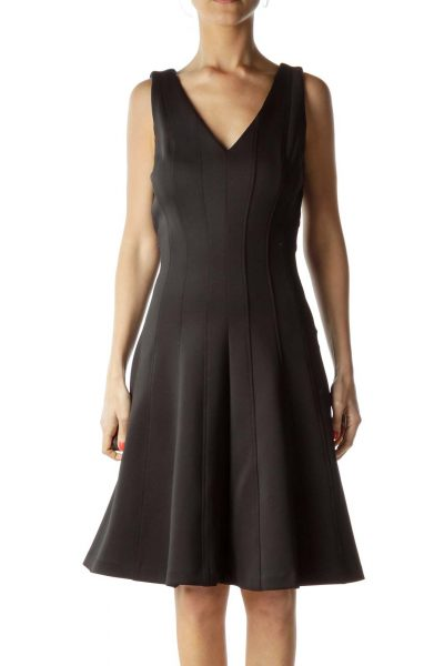 Black Classic V-Neck Cocktail Dress