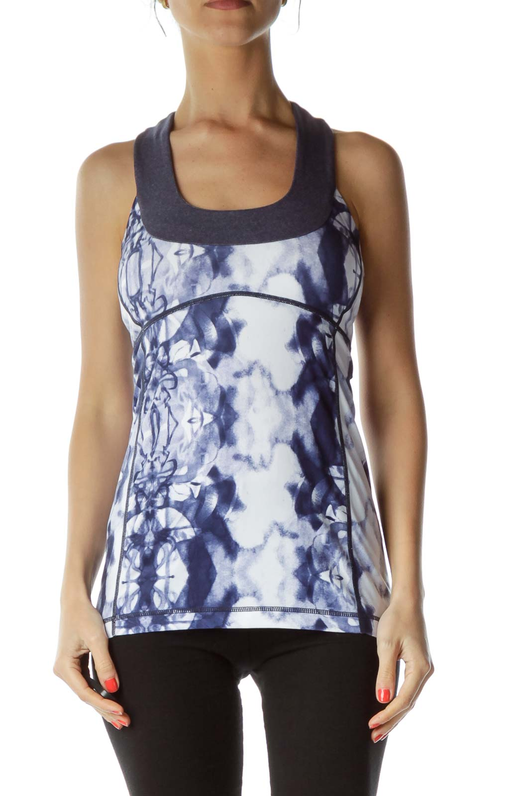 Blue White Racerback Tie Dye Yoga Top