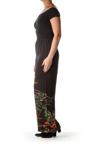 Black Print Silk Pant