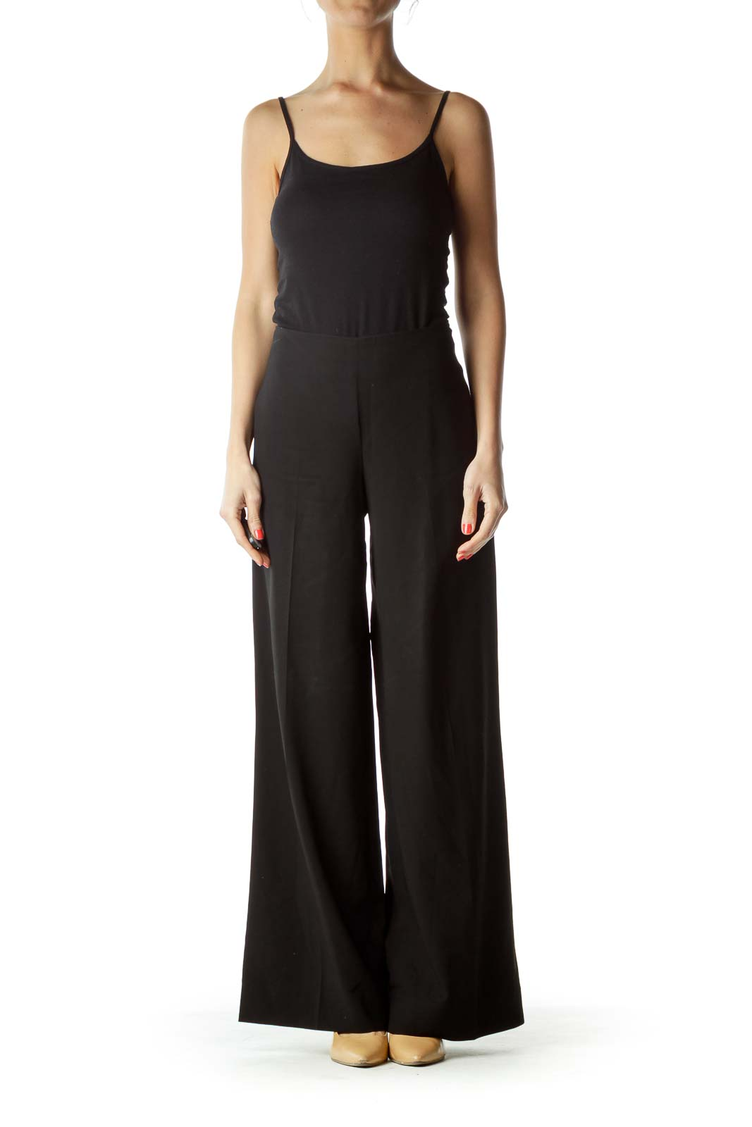 Black Wool Wide-Leg Slacks