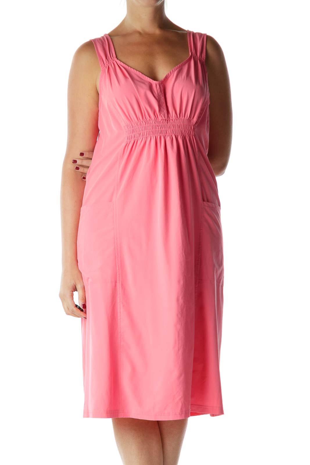 Pink Scrunched V-Neck Day Dress