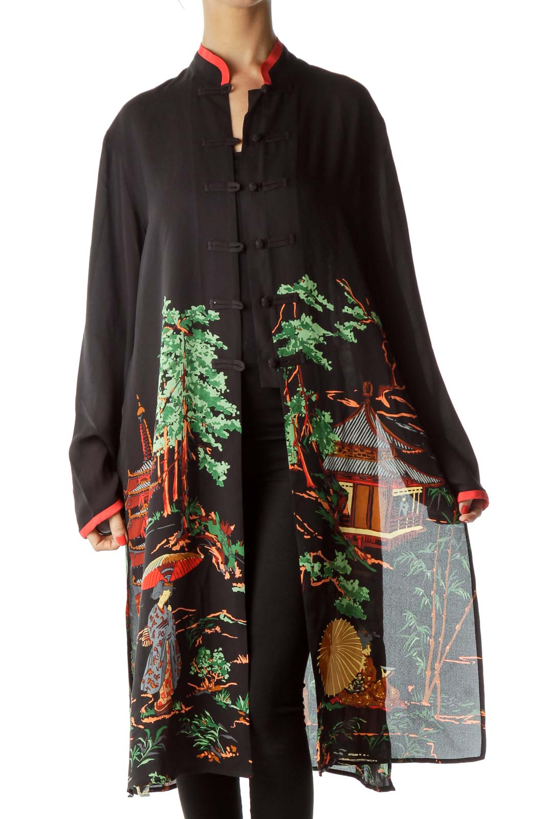 Black Red Printed Long Tunic