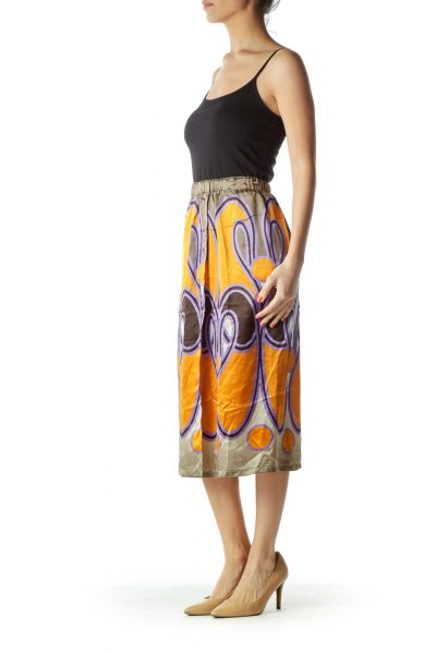 Green Print Silk Skirt with Slit