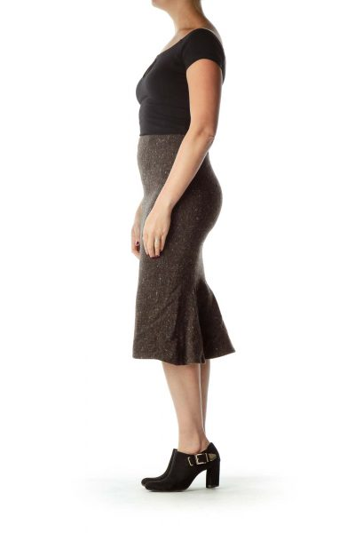 Brown Tweed Midi Skirt