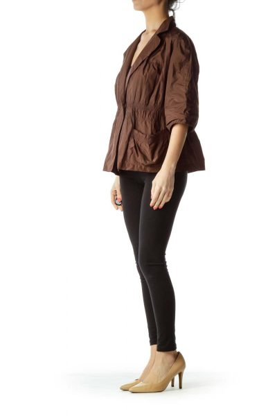 Brown Scrunched Pocketed Blouse